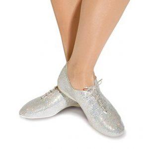 Silver glitter jazz shoe